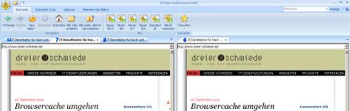 Screenshot IE Tester - Vergleich IE6 und IE7
